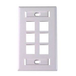 "102126D-WH - 6-Port Keystone Wall Plate with 3/8"" Station ID - White"