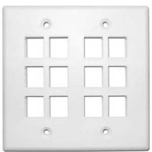 102139XWH - 12-Port Double Gang Keystone Wall Plate - White