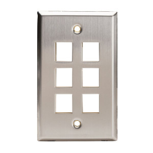 102156 - 6-Port Stainless Steel Wall Plate