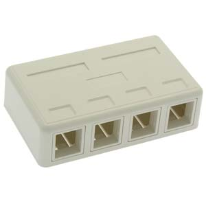 102304WH - 4-Port Premium Keystone Surface Mount Box - White