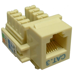 102637IV - CAT3 - RJ12 - Punch Down Keystone Jack Insert - Ivory