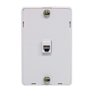 106306WH - 1-Port RJ12 6P6C Hanging Telephone Wall Plate - White