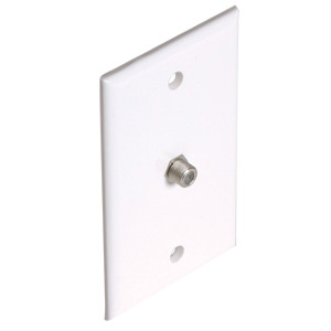 106390WH - 1-Port Smooth Coax F-Type Jack Wall Plate - White