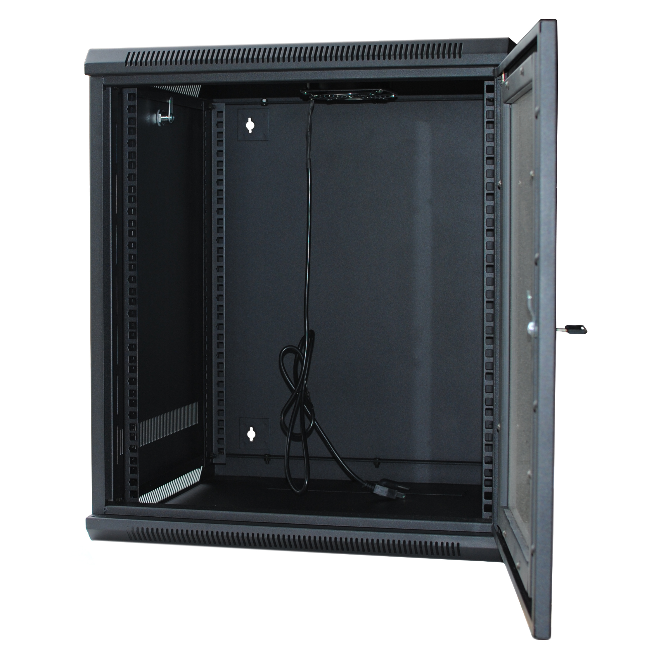 "120267BK - 12U Wall Mount Cabinet Rack w/Locking Glass Door & Cooling Fan - 24"" Deep (Assembly Required)"