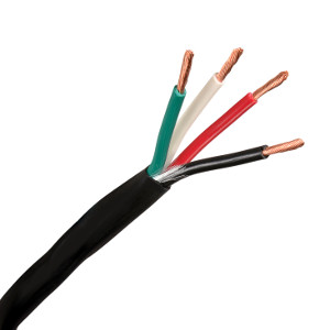 150104BK/050 - 16 AWG, 4 Conductor - CL3R Indoor/Outdoor UV Direct Burial Rated Speaker Wire - Black - 50ft
