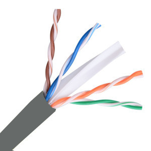 101168GY - CAT6A 750MHz Cable, 10G, 4 Pair, UTP, Riser Rated (CMR), Solid Bare Copper - Grey - 1000ft