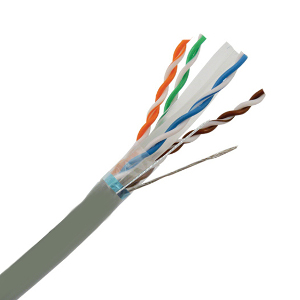 101167GY - CAT6E 550MHz Shielded Cable, 4 Pair, FTP, Riser Rated (CMR), Solid Bare Copper - Grey - 1000ft