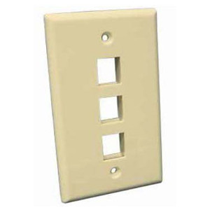 102103IV - 3-Port Keystone Wall Plate - Ivory