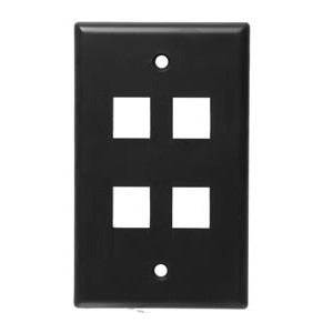 102104BK - 4-Port Keystone Wall Plate - Black