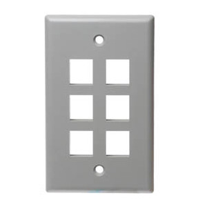 102106GY - 6-Port Keystone Wall Plate - Grey