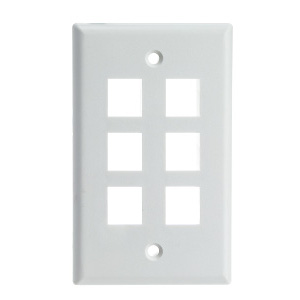 102106WH - 6-Port Keystone Wall Plate - White