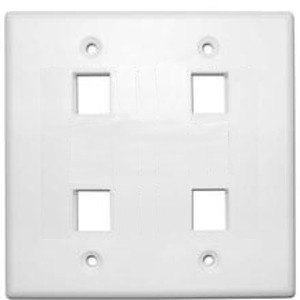 102134WH - 4-Port Double Gang Keystone Wall Plate - White