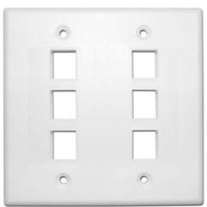 102136-WH-DYC - 6-Port Double Gang Keystone Wall Plate - White