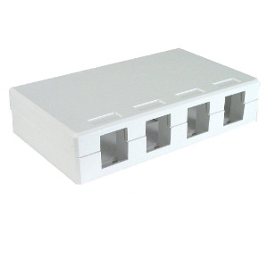 102304D/WH - 4-Port Keystone Surface Mount Box (Suitable for 8-in-a-row Jacks) - White