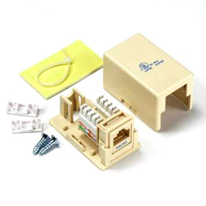102311IV - 1-Port CAT5e Loaded Surface Mount Jack Box - Ivory
