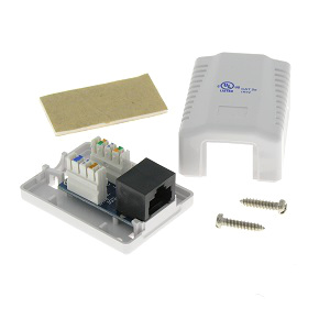 102311WH - 1-Port CAT5e Loaded Surface Mount Jack Box - White