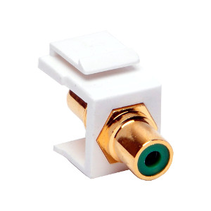102602WH/GN - Green RCA Keystone Jack Insert - White