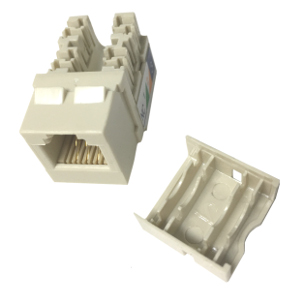 102637AL-N - CAT3 - RJ12 - Punch Down Keystone Jack Insert - Narrow Style - Almond