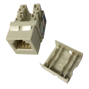 102637IV-N - CAT3 - RJ12 - Punch Down Keystone Jack Insert - Narrow Style - Ivory