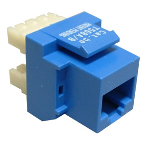 102652BL - CAT5e - RJ45 - 180 Degree Punch Down Keystone Jack Insert - Blue