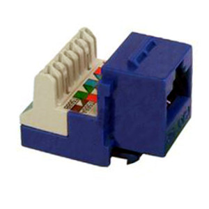102654BL - CAT5e - RJ45 - 8-in-a-row Punch Down Keystone Jack Insert - Blue