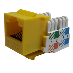 102666YL - CAT6 - RJ45 - Standard Punch Down Keystone Jack Insert - Yellow