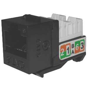 102720BK - APEX CAT6 - RJ45 - Punch Down Keystone Jack Insert - Black