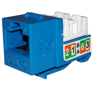 102720BL - APEX CAT6 - RJ45 - Punch Down Keystone Jack Insert - Blue