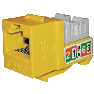 102720YL - APEX CAT6 - RJ45 - Punch Down Keystone Jack Insert - Yellow