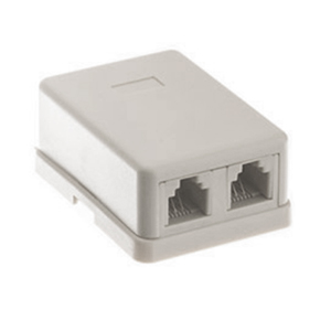 106415WH - 2-Port RJ11 6P4C Telephone Surface Mount Box - White