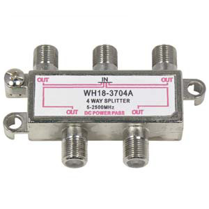 108634 - 4-Way Coax Splitter - 2.5GHz w/DC Power Pass