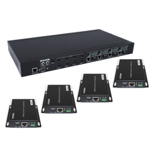 301099-KIT - 4x4 HDBaseT HDMI 2.0 Matrix Switch - 4K, HDCP 2.2, 18Gbps, POC, IR Control, and IP or RS232 Control