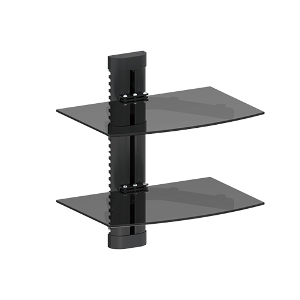 309408BK - Dual Wall Mount Glass Shelves for AV Components