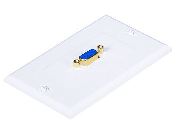 3W2010WH - VGA Wall Plate - 1 Port (Gold Plated)