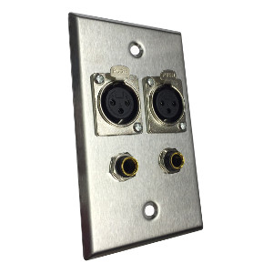 "3W3020SS - Stainless Steel Audio Wall Plate - (2) XLR Female + (2) 1/4"" Female"